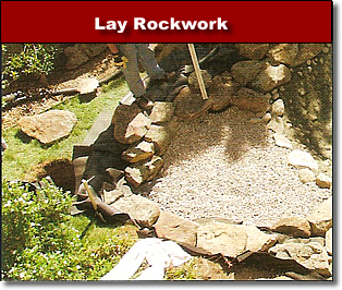 Lay Rock Work around Pond