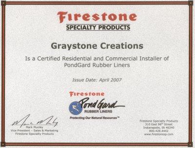 Firestone Pond Liner Installation Certificate