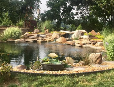 pond rock placement