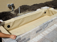Hardscape fountain basin