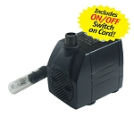 FountainPro WT170L 165 GPH Submersible Fountain Pump with Light & ON/OFF Switch