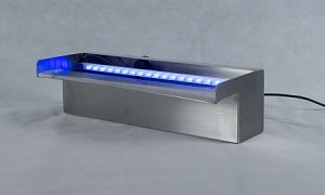 "American Pond 12"" Stainless Steel Spillway with Blue LED Light Strip"