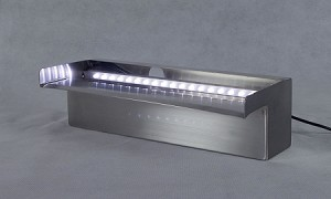 "American Pond 12"" Stainless Steel Spillway with White LED Light Strip"