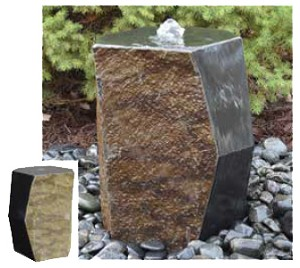 "EasyPro 16"" Tall Bevel Sided Basalt Fountain"