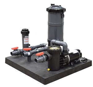 Medium Base Skid Mount Fountain Filtration System Pump with 90 SQ Ft Filter and Chlorinator
