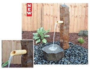 "Bamboo Basalt 39"" Column Fountain with Pouring Spout"