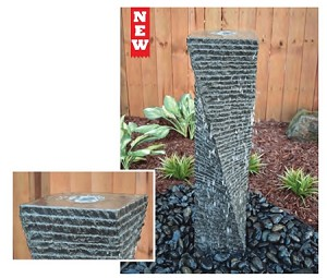 "Twisted Helix Basalt 39"" Column Complete Fountain Kit"