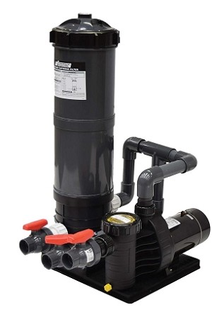 Skid Mount Fountain Filtration System Pump with 90 SQ Ft Filter