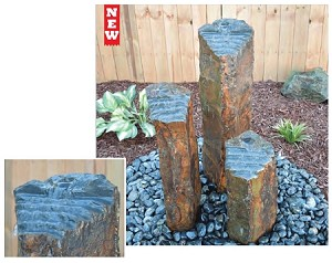 "Step Top Basalt 20"" Tall Single Column Fountain"