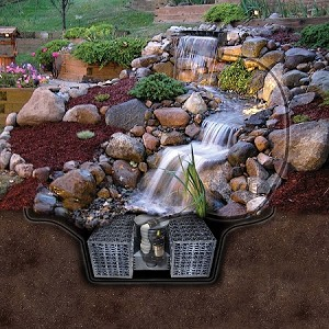 "EasyPro Pro Series Just-A-Falls Kit 50"" Spillway 18 Foot Stream Includes Res-Cubes"