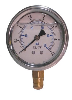 0-50 PSI Liquid Filled Pressure Gauge